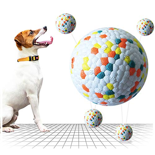 XGYLVFEI Hundespielzeugbälle, Hunde-Bissball für die Zahnreinigung, interaktives Hundespielzeug Bälle, blau hüpfendes Hundespielzeug Bälle für draußen, Backenzähnen-Spielzeug für Hunde (Oranger Punkt)