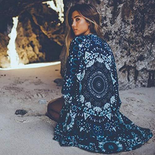 CHZDNSCS Camisa Estilo De Verano Mantón De Playa Cubrir Las Mujeres Moda Mandala Imprimir Kimono Damas Sueltas Casual Gasa Tops Cardigan para Mujer BlusaL