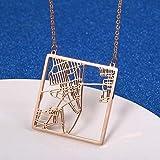 quanjiafu Collar De Mapa De La Ciudad De Nueva York Cuadrado Estados Unidos NY Us Jewelry City Skyline Collares Pendientes Regalos del Día De La Raza Collar