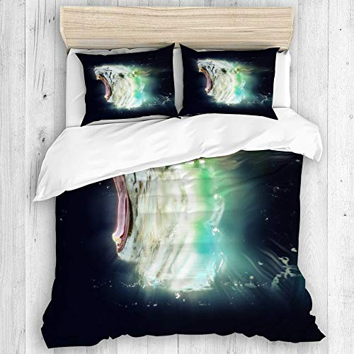DUILLY Bedding - Duvet Cover Set,White Tiger Abstract Animal Concept,Microfiber Winter New Three-Piece Set of Various Patterns Custom Single with 2 Pillowcases,Quilt Cover 260 * 220cm