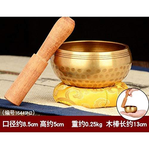 Tibetaanse Singing BowlBuddha geluid kom koper handgemaakte kom ring koper yoga meditatie zingen kom magische kom feng shui gouden kom koper kaliber 8,5 cm kom