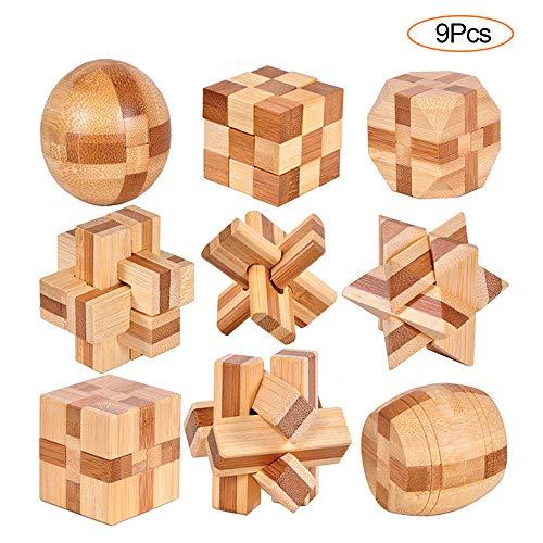 YGZN 9 Pezzi Rompicapo Puzzle Giocattoli di Legno - 3D Puzzle di Legno - Gioco di Puzzle di Legno - Ideale per Giocattoli Educativi Intelligenza e Regali per Bambini (Wooden Puzzles 9Set)