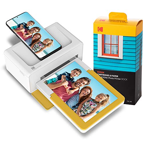 KODAK PD460 Dock Plus & Bluetooth +90 Fotos, tragbarer Mini Fotodrucker 10x15, mobiler Drucker für Smartphone (iPhone und Android), Sofortbilder in Premium-Qualität unterwegs mit dem Handy drucken