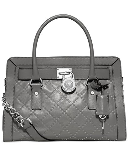 """Smooth cow leather; lining: polyester The latest Hamilton satchel from MICHAEL Michael Kors ups the ante in chic micro studs with shiny rhodium hardware and a well-organized interior. Double handles with 4"""" drop; shoulder strap with 25"""" drop Magnetic..."""