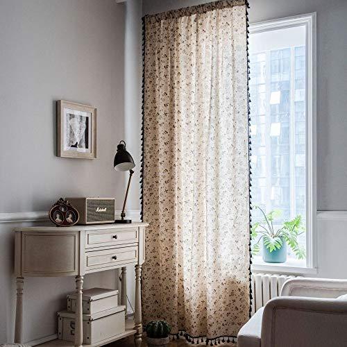 CXL Cortina algodón cáñamo Diente de león Impreso Borla Negra Cortinas de Dormitorio Simples sombreado Medio Cortinas flotantes Modelos de Gancho