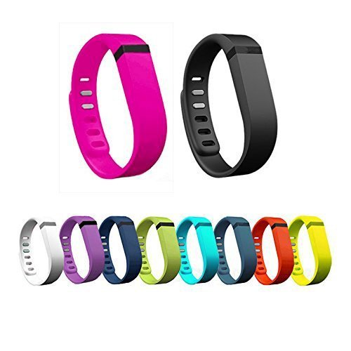 E ECSEM New 10pcs Large L Colorful Replacement Bands with Clasps for Fitbit Flex Only/No Tracker/Wireless Activity Bracelet Sport Wristband Fit Bit Flex Bracelet Sport Arm Band Armband