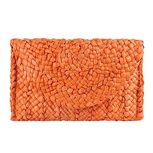 EVEOUT Bolso de Paja Tejido para Mujer Cartera Clutches Vintage Bolsa de Vacaciones en la Playa Naranja