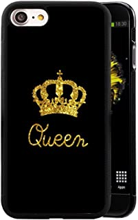 for iPhone 8/ iPhone 7 Case King Queen Best Friend Lovers Couple Slim Fit Black Cell Phone Accessories Queen & King Design Soft TPU Protective iPhone 7/8 Cases (Queen for iPhone7/8)