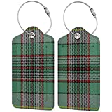 Clan Craig Tartan Leather Luggage Tag Travel ID Label Leather For Baggage Suitcase 2 Pcs Set