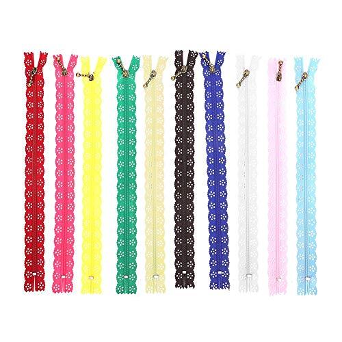 10 piezas de cremalleras de encaje para coser, cremalleras de nylon de...