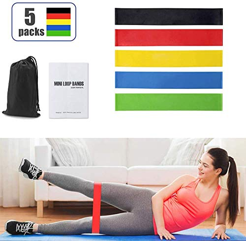 ICHECKEY Fitnessbänder, Widerstandsbände Gymnastikband Elastisch Stretching Bänder Übungsband Trainingsband Theraband Set für Pilates Yoga Krafttraining