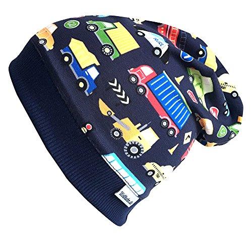 Wollhuhn ÖKO Beanie-Mütze dunkelblau mit bunten Autos für Jungen (aus...