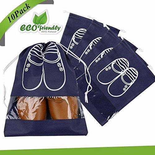 Bolsas de zapatos, Chickwin 10 Pcs accesorios de viaje con la cremallera para los hombres y de las mujeres Cordón a prueba de polvo portátil (Marina, 10 paquete de tamaño mediano)
