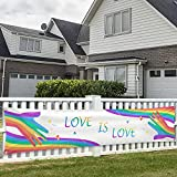 Pride Banner Rainbow Flag LGBT Decorations Love Is Love Hands Lesbian Gay bisexual Transgender Bi LGBTQ 120' x 20' Yard Sign Party Supplies Decor Vivid Color Hanging for Outdoor Celebration Indoor Decoration House Home Garden Gathering Event