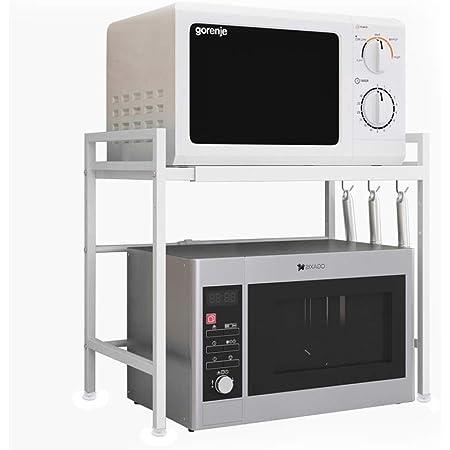 Vinteky Support extensible pour micro-ondes, étagère pour four à micro-ondes en acier au carbone, blanc