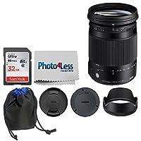Sigma 18–300mm f / 3.5–6.3DCマクロOS HSM Contemporaryレンズfor Nikon F (886306) + 32GBメモリカード+レンズポーチ+ photo4lessクリーニングクロス–Top値基本的なバンドル。