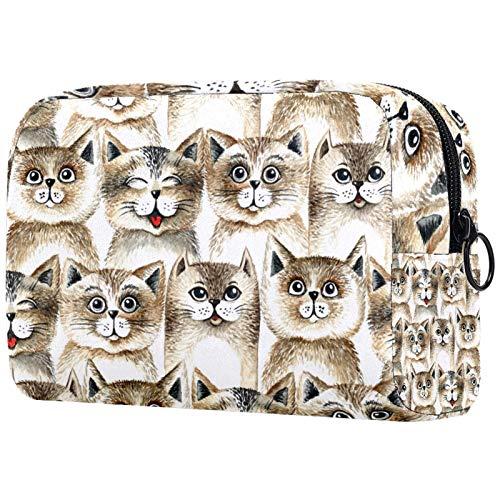 Neceser de viaje de nailon, kit Dopp bolsa de afeitado organizador, bonito patrón de cabeza de gato...