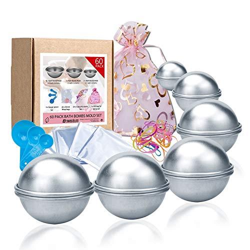 Badebomben-Formenset 60teilig–12Stück, 3Größen DIY, Form, Löffel, Taschen, Geschenktüten und Gummiband, Set für Ihre eigenen Fizzles Badebomben von Swisselite