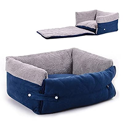 Easylifer Multifunctional Sofa Pet Bed Cushion Washable Removable Lounger Nest Cave Couch Quilted Dog Bed with Cover Protector for Dogs, Cats(Blue, M) by Easylifer