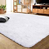 LOCHAS Ultra Soft Indoor Modern Area Rugs Fluffy Living Room Carpets for Children Bedroom Home Decor Nursery Rug 4x5.3 Feet, White