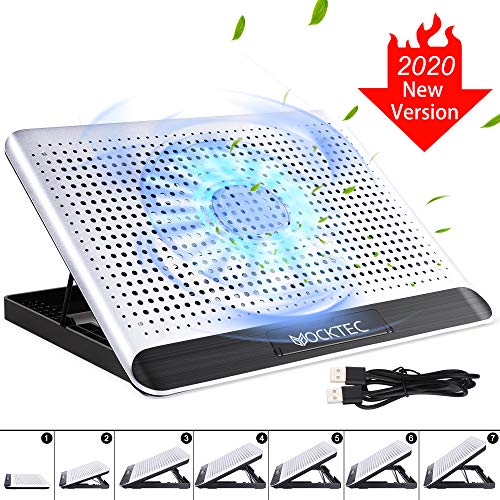 Yocktec Laptop Kühlpads 13-17 Zoll, Laptop Kühler Cooling Pad Notebook Cooler Ständer Kühlpad Kühlmatte, 2 Port USB, 6 Höheneinstellung, Aluminiumlegierung, Silent Windgeschwindigkeit
