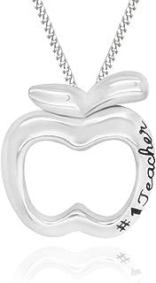 925 Sterling Silver #1 Teacher Apple Pendant Necklace, 18