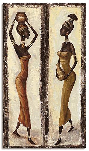 Artland Leinwandbilder auf Holz Wandbild 70x40 cm Hochformat Afrika Fashion Menschen Frau Mode afrikanisch J6LJ