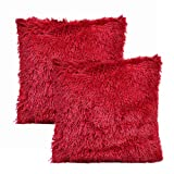 YOUR SMILE Pack of 2, Christmas Decorative New Luxury Series Merino Style Faux Fur Throw Pillow Case Cushion Cover 18' x 18'(Burgundy Red)