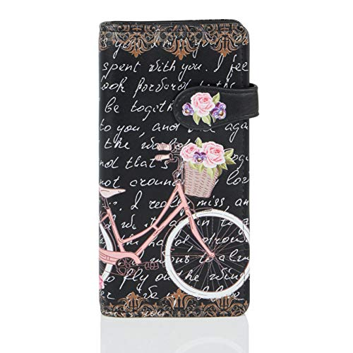 Shagwear ® Portemonnaie Geldbeutel Damen Geldbörse Mädchen | Bifold Mehrfarbig Portmonee Designs: (Paris Fahrrad/Paris Bike Black)