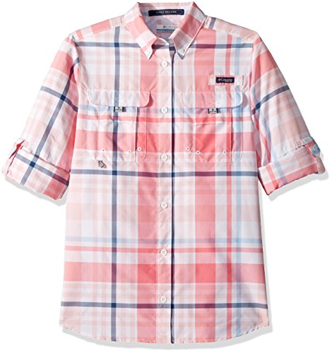 Columbia Women's PFG Super Bahama Long Sleeve Shirt, Breathable, UV Protection, Large, Cherry Blossom Plaid