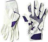 Under Armour Girls' Radar Softball Batting Gloves Purple/White, Purple /Purple, Youth Large