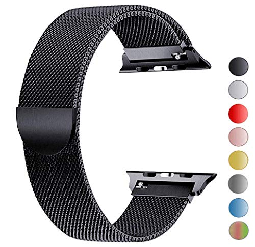 Tervoka Ersatzarmband kompatibel mit Apple Watch Armband 44mm 42mm 40mm 38mm, Metal Edelstahl Armband mit Magnet kompatibel mit iWatch Series 6/5/4/3/2/1 (42mm/44mm, Schwarz)