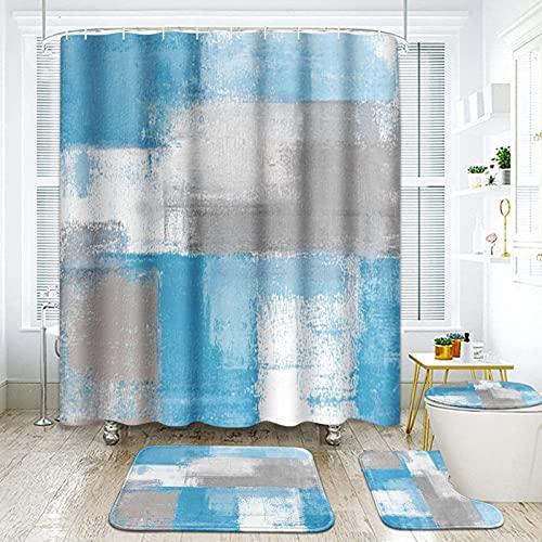 ArtSocket Duschvorhang-Set, grau-blau, abstrakte Malerei, grau, mit rutschfesten Teppichen, WC-Deckelbezug & Badematte, Badezimmer-Dekor-Set, 182,9 x 182,9 cm, 4-teilig
