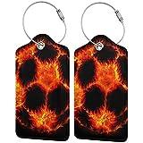 Fuego de fútbol impresión personalizada de cuero maleta de lujo etiqueta conjunto de accesorios de viaje etiquetas de equipaje