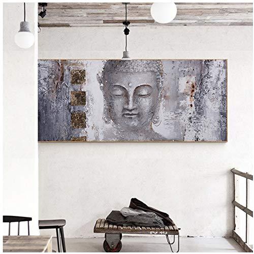 YANGMENGDAN Drucken auf Leinwand Buddha Zen Wandkunst Bilder Leinwandbilder Drucken Poster Ölgemälde für Wohnzimmer Wohnkultur 60 x 100 cm (23,6