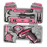 Inicio destornillador eléctrico recargable USB Kit de herramientas herramienta de mano rosa Bits Alicates Martillo Accesorios de hardware durable para uso doméstico y la industria 35PCS
