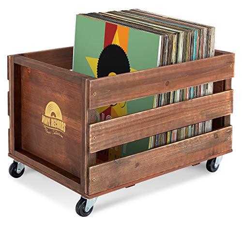 """Stagecaptain SPK-100 BN Schallplattenkiste """"Emil"""" - Aufbewahrungsbox für bis zu 100 LPs - aus Vollholz im Retro-Design - 4 lenkbare Rollen - auch für vieles andere bis 25 kg verwendbar - Braun"""