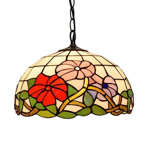 HHKQ Lámpara Colgante Tiffany Style, Patrón de Flores Luces de Colgante con Pantalla de Vitral Retro E27 Iluminación Colgante para Sala de Estar Dormitorio Comedor,40cm