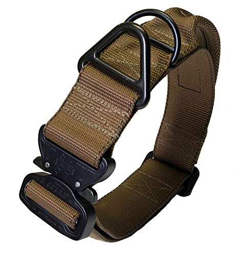 Miles Tactical K9 Cobra Dog Collar for Large Dogs Heavy Duty (Large with Handle, Coyote Brown)