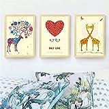 SDFSD Craeative Animal Colorido Dibujos Animados Amor romántico Corazón Ciervo Elk Jirafa Ballena Habitación de los niños Decoración para el hogar Carteles Lienzo Pintura 40 * 50 cm