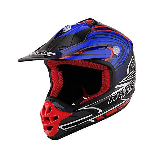 Blanc Bleu Rouge, M NENKI Casque Moto Cross NK-316 pour Hommes et Femmes ECE approuv/és