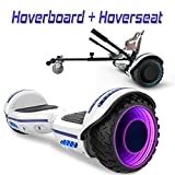 COLORWAY Overboard Hover Scooter Board Gyropode Bluetooth SUV 6.5 Pouces, Scooter Electrique Moteur 700W Tout-Terrain, Self-Balance Board avec Roues LED Flash + Hoverkart (Bleu LED)
