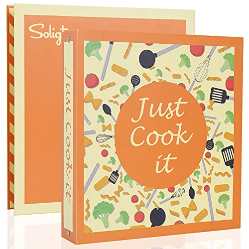 Recipe Binder 8.5x11 3 Ring Full Page Recipe Book Binder with 30 Page Protectors, 12 Dividers & 24 Labels for Family Recipe Organizer   Recipe Card & Page Printer Template Included