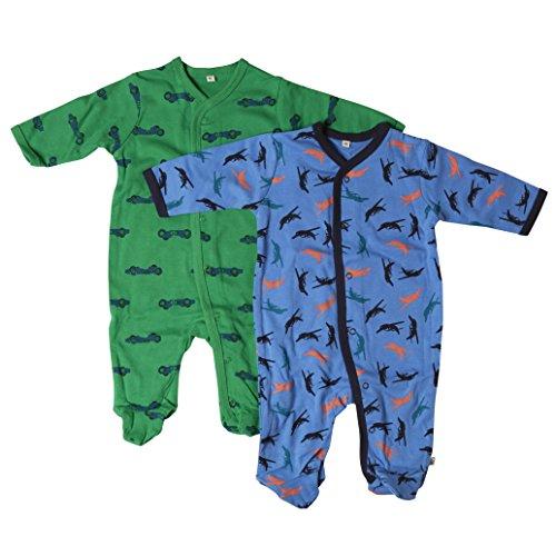 Pippi 2-pak kinderen jongens slaaptramper met opdruk, lange mouwen met voeten, leeftijd 2-3 jaar, maat: 98, kleur: donkerblauw, 3821