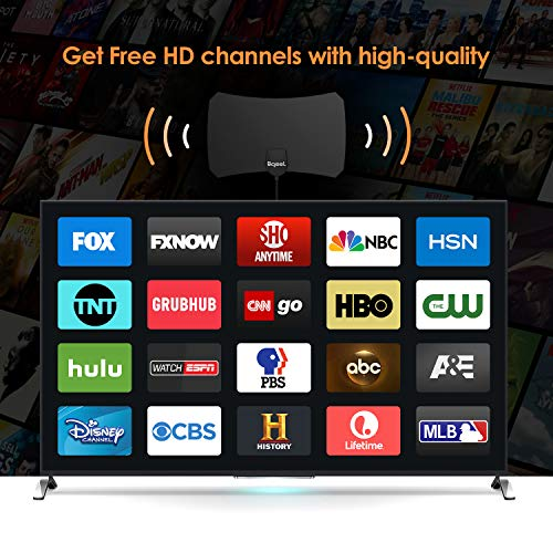 Bqeel Antenne TV Intérieur Puissante, Amplifiée 120 Miles avec Signal Amplificateur Booster et 3,7 Mètres Câble Coaxial, Soutien Smart TV 1080P HD 4K VHF UHF FM, Antenne TNT