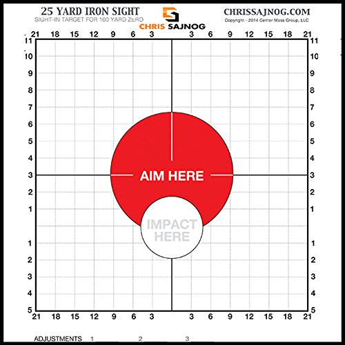 Chris Sajnog 25 Yard Sight-in Targets for a 100-Yard Zero - USE with Iron Sights
