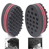AIR TREE Big Holes Curl Hair Sponge Magic Barber Sponge Brush Twist Hair For Wave,Dreadlock,Coils,Afro Curl As Hair Care Tool 7 & 16 Mm Hole Diameter Suitable For Curly Hair (2 PCS)