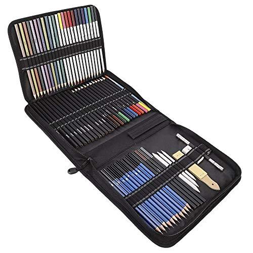 IWILCS 72PCS Buntstifte Set, Skizzieren Kunst Set, Buntstifte Farbstifte Bleistift Zeichnen Set Aquarell Bleistifte Aquarell Bleistifte für Künstler Erwachsene Kinder Anfänger
