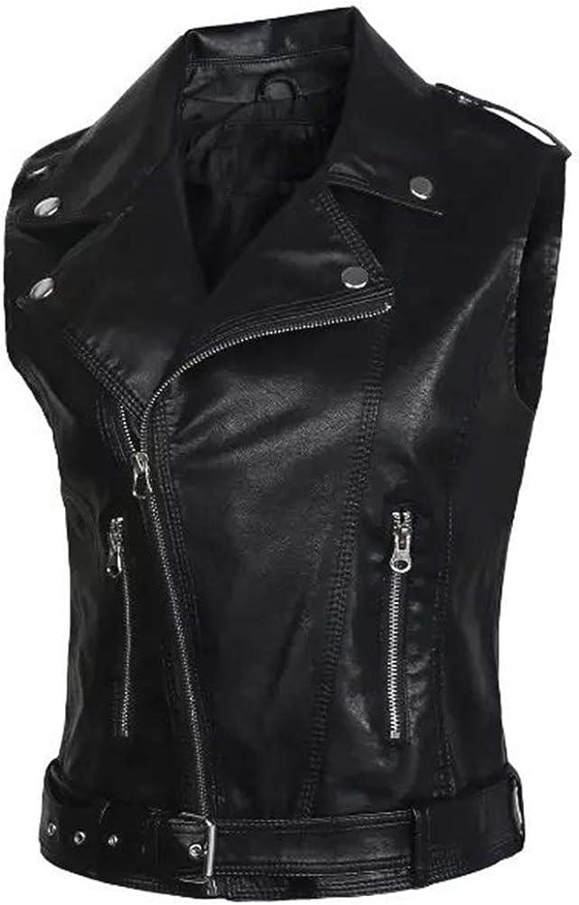 Kedera Womens Motorcycle Biker Faux Leather Sleeveless Vest Jacket Slant Zip with Pockets
