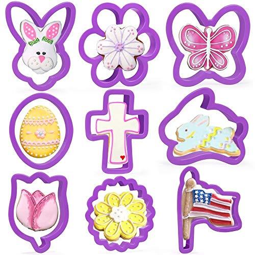Crethink - Juego de cortadores de galletas de Pascua (9 piezas, plástico, para huevos, conejos, flores, pollitos, cruces, lirios, gatitos, cara de conejo y mariposa